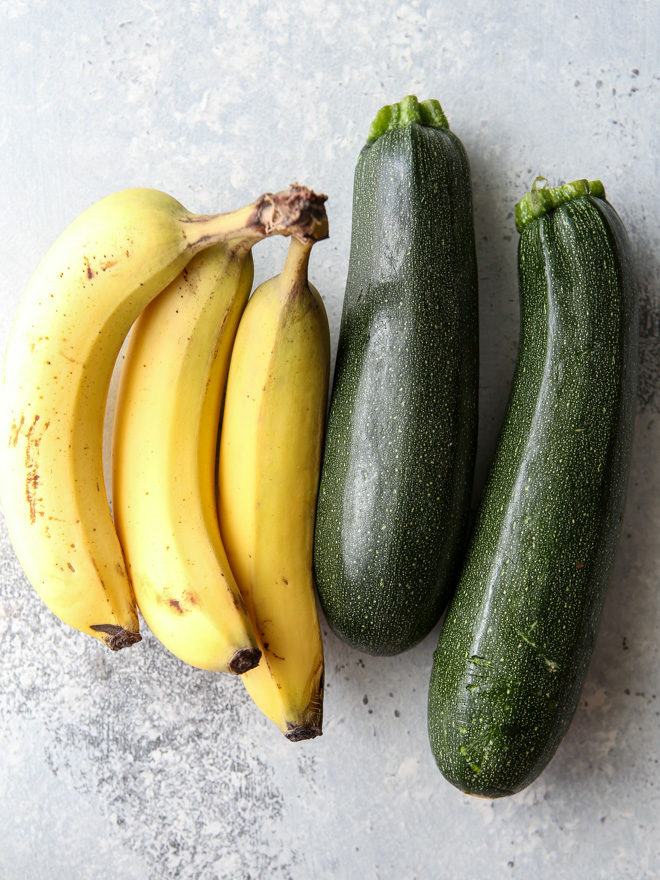 Bananas and zucchini combined go into this quick bread recipe