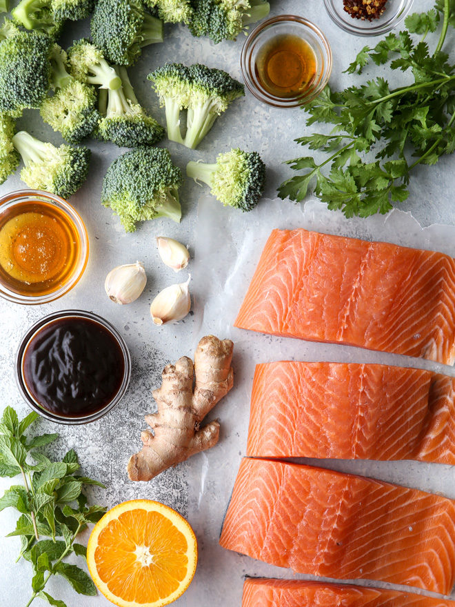 All the ingredients you'll need to make this Asian-glazed sheet-pan salmon and broccoli