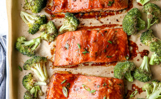 Asian-Glazed Sheet-Pan Salmon and Broccoli