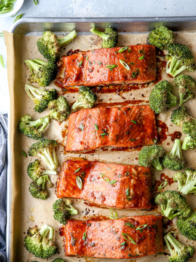 This Asian-glazed sheet-pan salmon and broccoli is a quick, easy, and delicious meal the whole family will love!