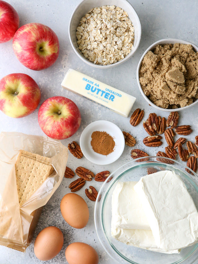 Ingredients needed for caramel apple cheesecake bars