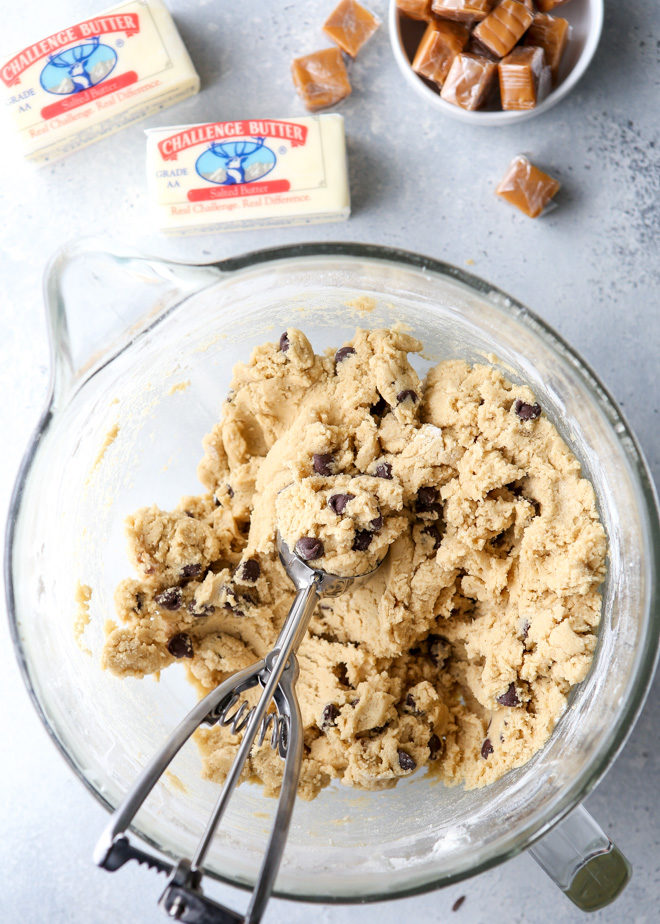 Making caramel stuffed chocolate chip cookies with Challenge Butter
