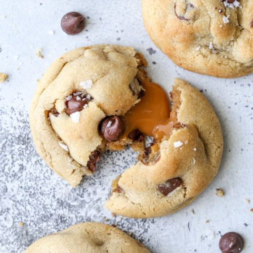 These soft and gooey caramel-stuffed chocolate chip cookies couldn't be any more irresistible!