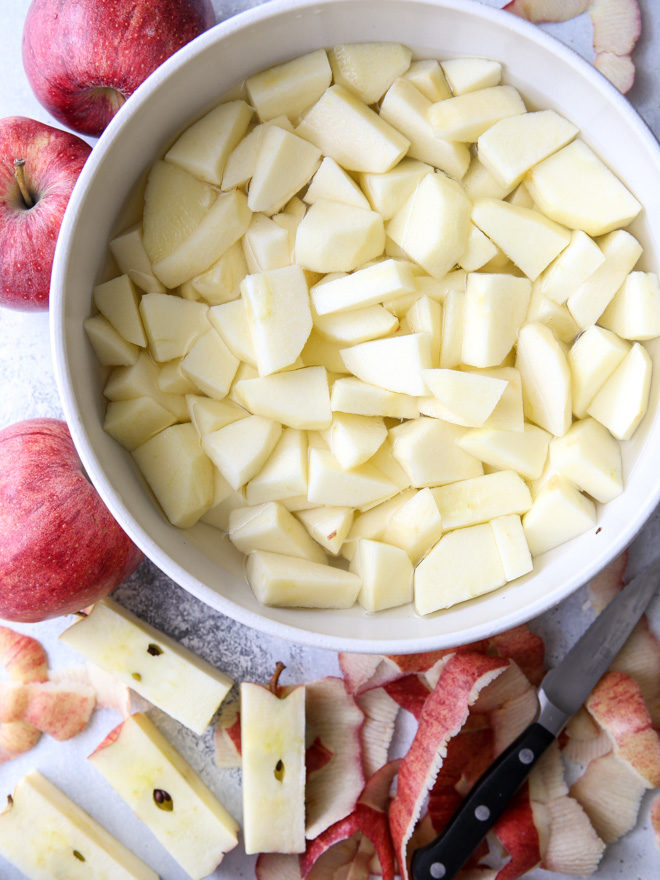 Keep chopped apples from browning by putting them in a lemon juice solution