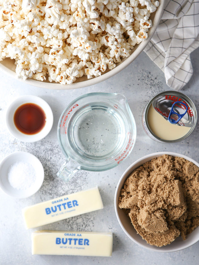 All the ingredients you'll need for soft and gooey caramel popcorn