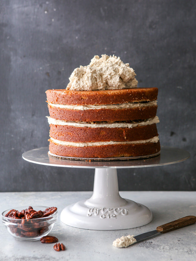 putting together this brown sugar cinnamon layer cake