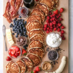 "This ""build your own"" pancake board with all the toppings is the perfect for breakfast, brunch, and even brinner!"