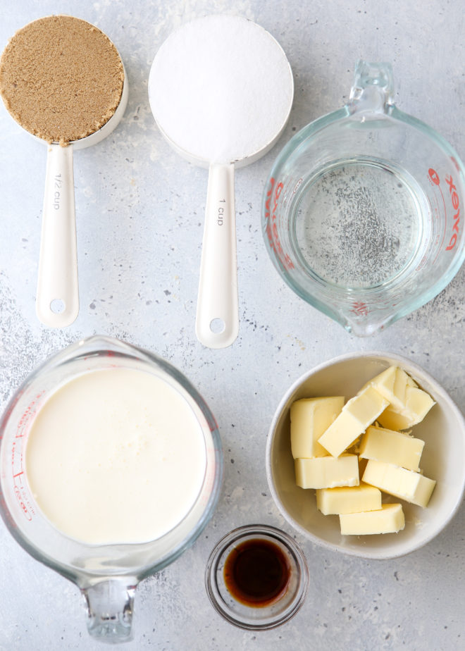 Ingredients to made homemade caramels