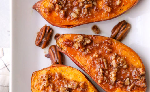 Roasted Sweet Potatoes with Maple Pecan Sauce