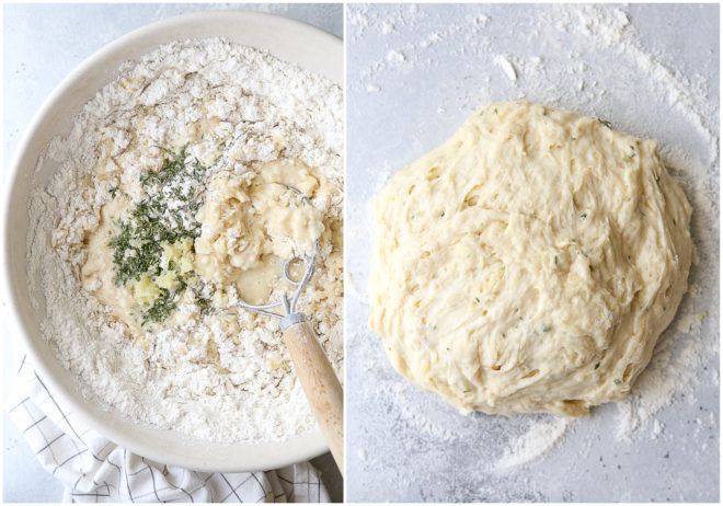 Mixing up no-knead garlic and herb crescent rolls