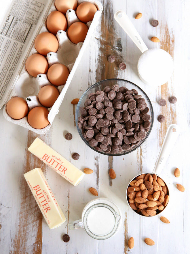 Ingredients for flourless chocolate almond cake