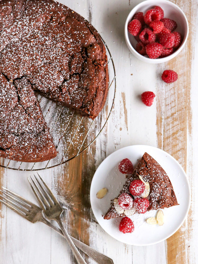 You won't find a more decadent dessert than this flourless chocolate almond cake!