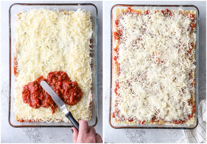 This classic meat lasagna is filled with layers of pasta, homemade meat sauce, and lots of ricotta, mozzarella, and parmesan cheese.