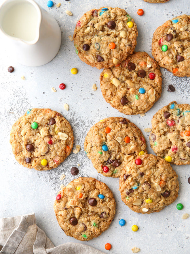 These extra-large monster cookies are the ultimate cookie! They're packed with M&Ms, oats, chocolate chips, peanuts, and crispy rice cereal.