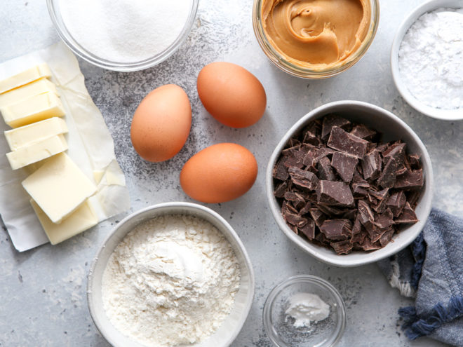 ingredients for peanut butter swirl brownies