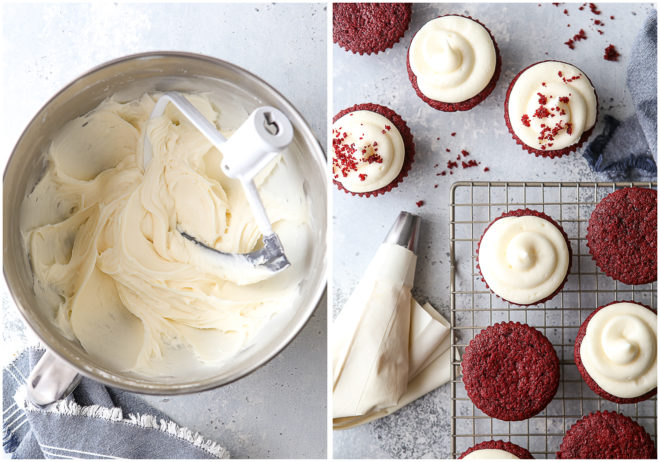 Frosting classic red velvet cupcakes with cream cheese frosting
