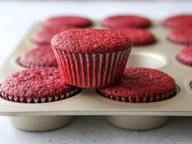 Soft and tender red velvet cupcakes