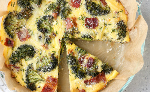 Roasted Broccoli and Bacon Crustless Quiche
