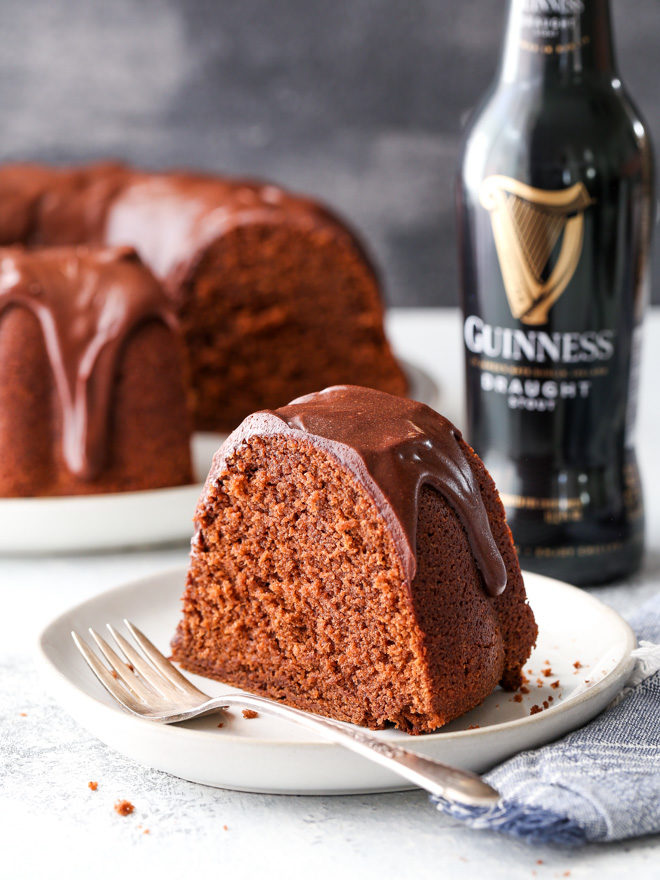 This chocolate stout bundt cake is moist, chocolaty, and has a bottle of Guinness beer baked right in!