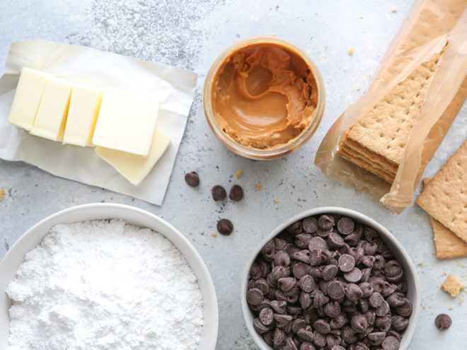 Ingredients for no-bake chocolate peanut butter bars