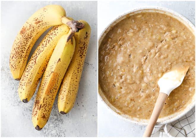 Mixing up banana bread