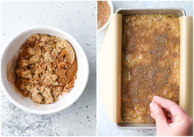 Adding cinnamon crumble topping to banana bread