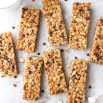 These homemade chewy chocolate chip granola bars are sweet and satisfying, and so much better than store-bought!