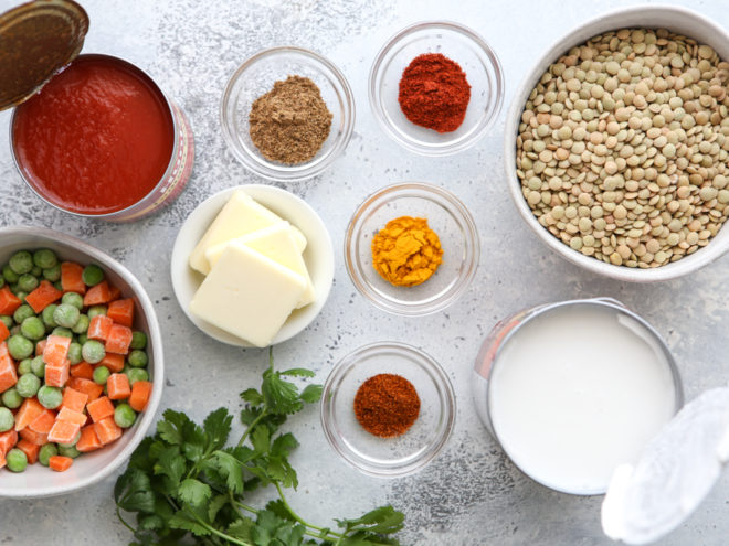 Ingredients for coconut curry lentils
