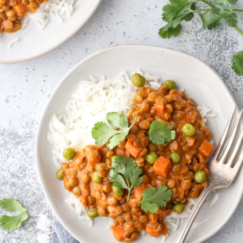 Serve this rich and flavorful coconut curry lentils dish with rice or flatbread for an easy and very satisfying meal.