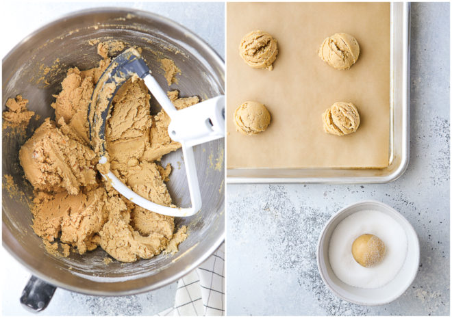Making peanut butter blossom cookie dough