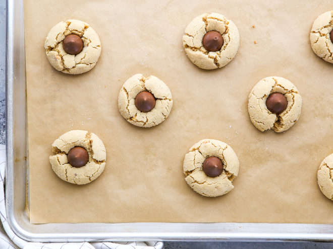 Peanut butter blossom cookies fresh from the oven