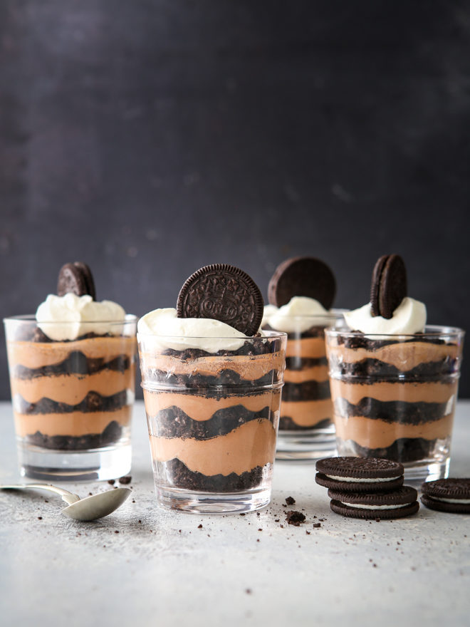 All you need are 3 basic ingredients to make these simple but decadent chocolate oreo parfaits.