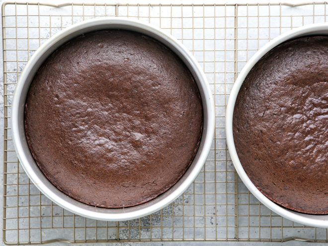 chocolate sour cream cakes out of the oven