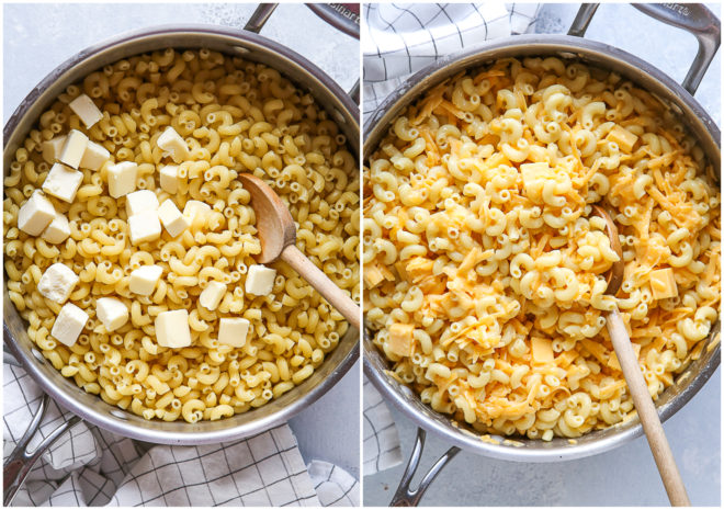 Making the easiest stovetop mac and cheese