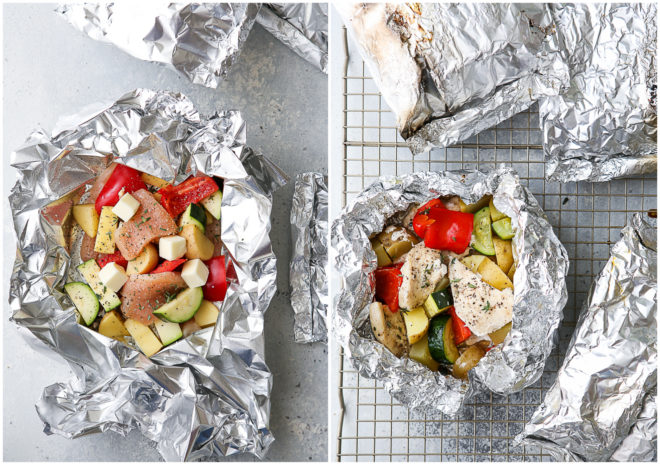 tin foil dinners before and after cooking