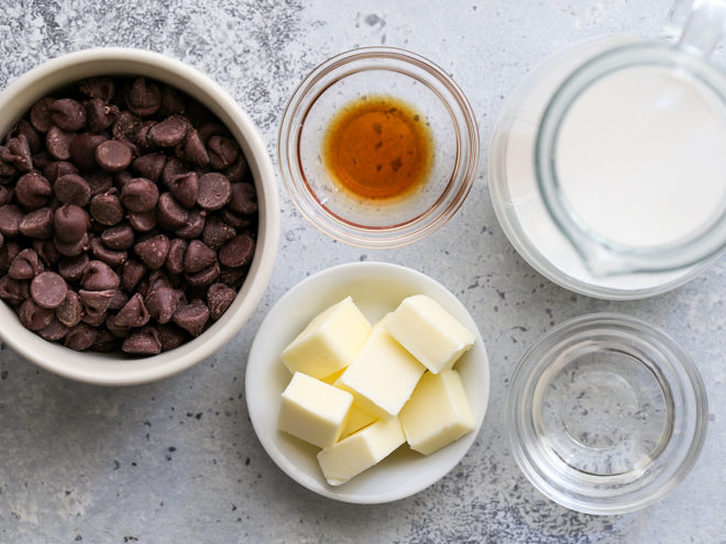 just 5 ingredients needed for this hot fudge sauce