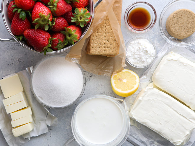 Ingredients for no-bake strawberry cheesecake bars