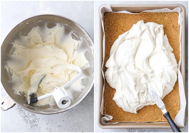 assembling no-bake cheesecake bars