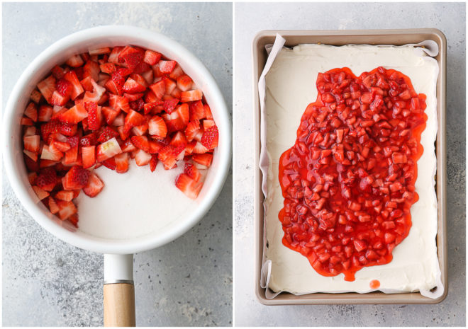 topping strawberry cheesecake bars
