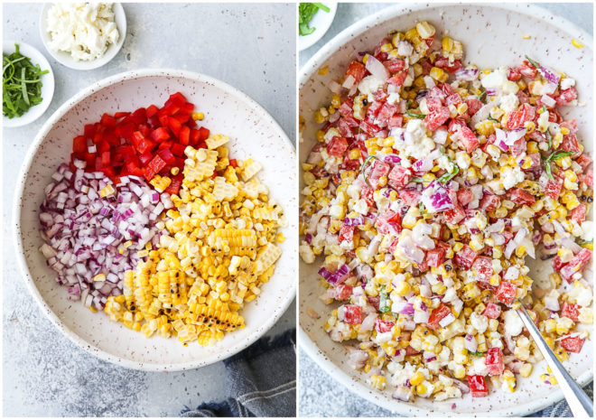 Making the corn and red pepper salad