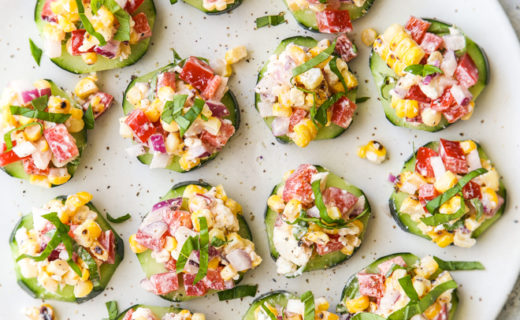 Cucumber Bites with Corn and Red Pepper Salad