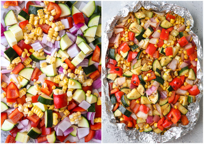 Veggies before and after grilling