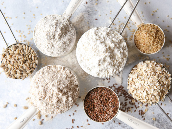 flours and ingredients in measuring cups