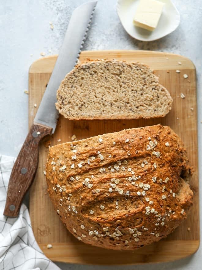 rustic multigrain bread, sliced