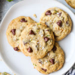 zucchini chocolate chip cookies on a plate