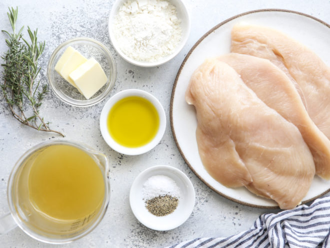 ingredients needed for skillet chicken with herb butter sauce