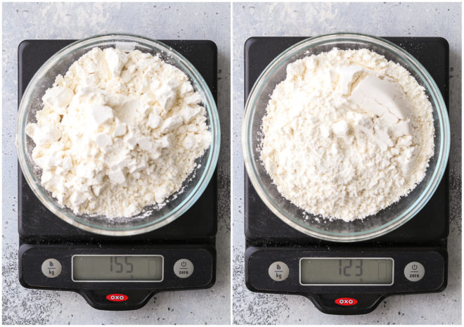 flour on a scale - measured correctly and measured incorrectly