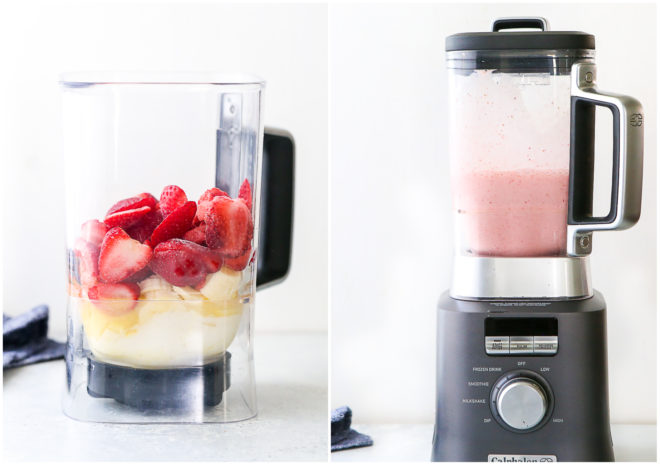 mixing strawberry banana smoothie in mixer