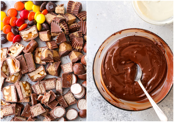 chopped candy bars and melted chocolate