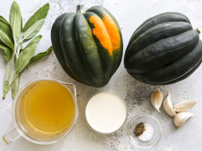 ingredients for roasted acorn squash with sage cream sauce